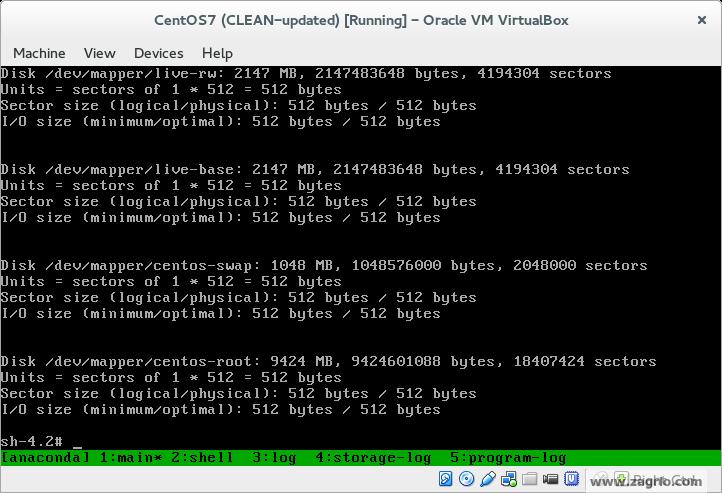 """با زدن Enter به Bash shell بر می گردید. 8- آماده سازی دیسک جدید از آنجا که ما 2GB Disk جدید را بطور کامل به سیستم مجازی اضافه کرده ایم ما باید این دیسک را برای استفاده LVM آماده کنیم. اگر در حال گسترش Root Partition با یک پارتیشن خالی موجود هستید نیز فرآیند مشابه است. فقط از مشخص کننده پارتیشن (sdaX or sdbX) هنگامی که در حال اجرای دستورات هستید استفاده کنید. پیکربندی آخرین دیسک را با دستور """"fdisk -1"""" د بررسی کنید."""